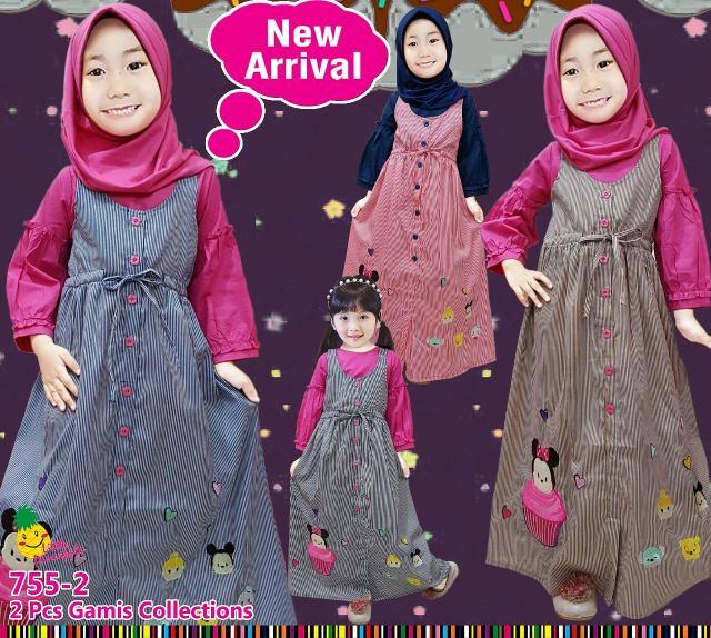 Baju Muslim Anak Cewek Gamis Overall Katun Garis Little Pineapple Tsum