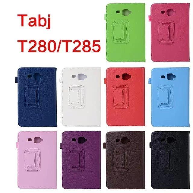 1 Pc/lot Anda Samsung Galaksi Tab Sebuah A6 7.0 SM-T280 SM-T285 Penyangga PU Kulit Lipat Sarung Case Anda Samsung T280 t285 Multi Warna