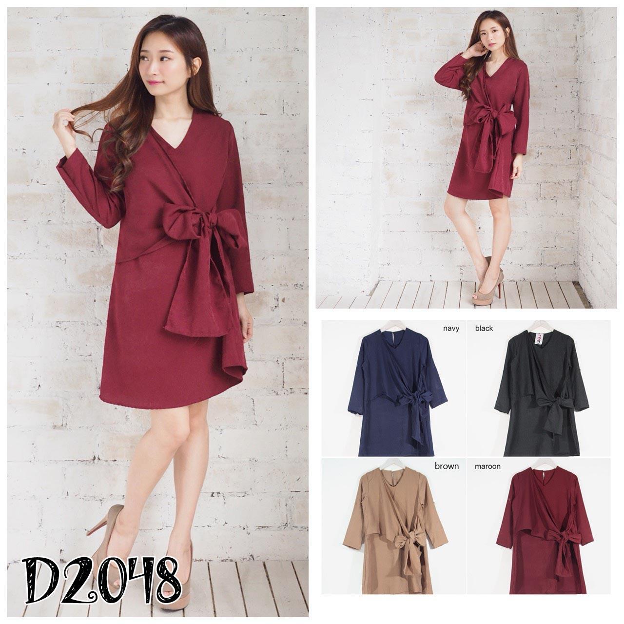 D2048 Dress Terusan Kasual Lengan Panjang Tali Ikat Pinggang Fashion Murah Kerja Wanita