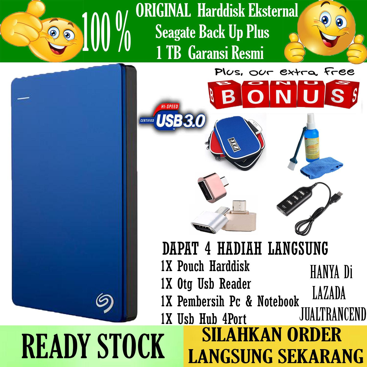 Seagate Backup Plus Slim 1TB - HDD - HD - Hardisk External 2.5  + Gratis Pouch Harddisk + Otg Android + Cleaning Kit ( Pembersih PC & Notebook + Usb Hub 4Port