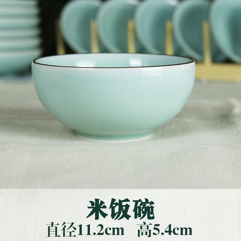 Longquan Mangkuk Biru Peralatan Makan Keramik Bulan Nasi Putih