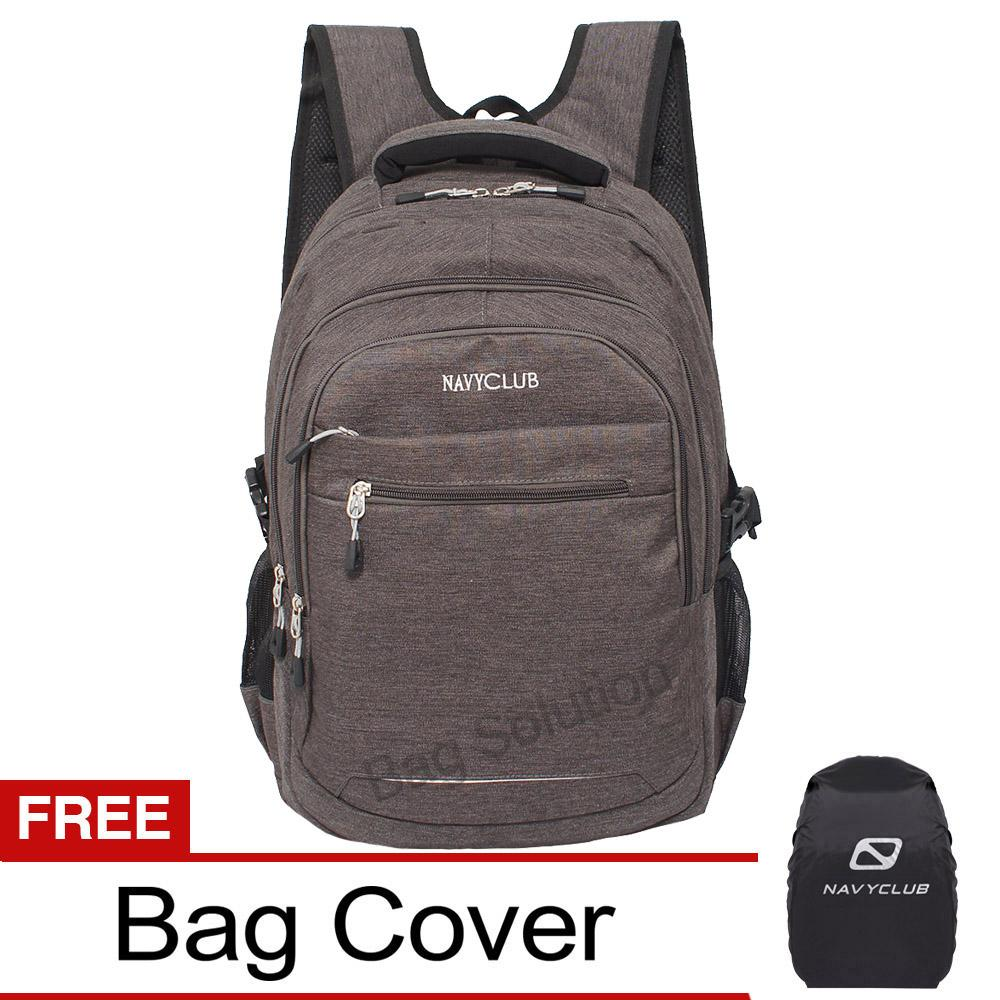 Navy Club Tas Ransel Laptop Kasual - Tas Pria Tas Wanita - EIDJ Backpack Upto 15 Inch - Abu Bonus Bag Cover