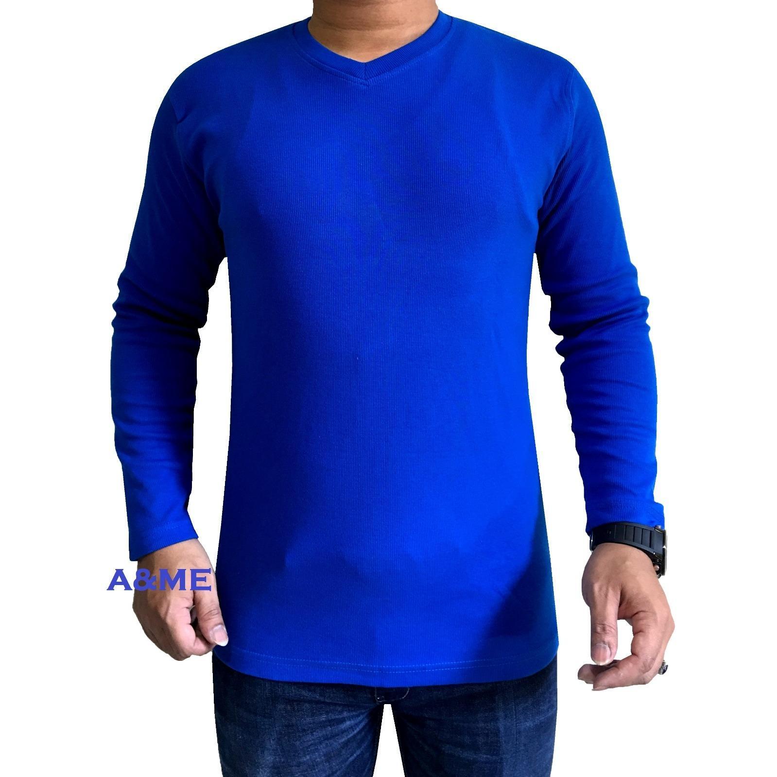 A&ME-Kaos Polos Lengan Panjang 100% Cotton O-Neck Twotone Rip Baju Fashion Atasan Pria Wanita Cowok Cewek Santai Simple Keren Moderen Formal Casual Elegan Murah Bagus Olah Raga