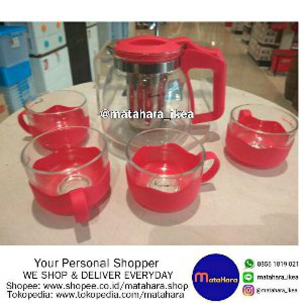 Teko teh dengan isi 4 gelas Merk Kris Home Ace Hardware warna Pink