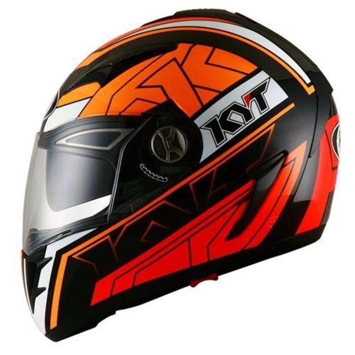 Helm KYT Alpha Venom Black Orange Fluo Double Visor Full Face