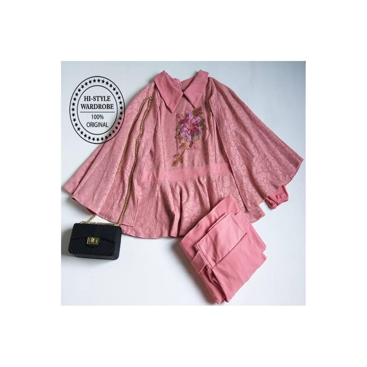 Setelan Maxi Dress Cape Mewah Elegan Baju Muslim Wanita Gamis Modern