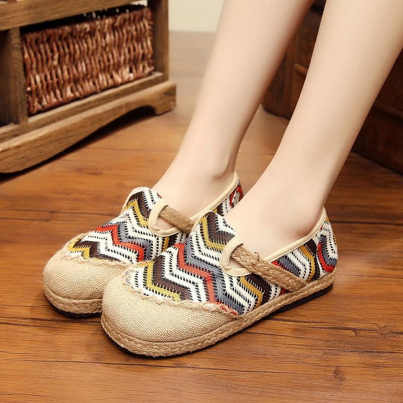 Sen Perempuan Linen Lengan Bergaris Warna Campuran Buatan Tangan Sepatu Sepatu Beijing Sepatu Kain Bekas (Nasi Putih)