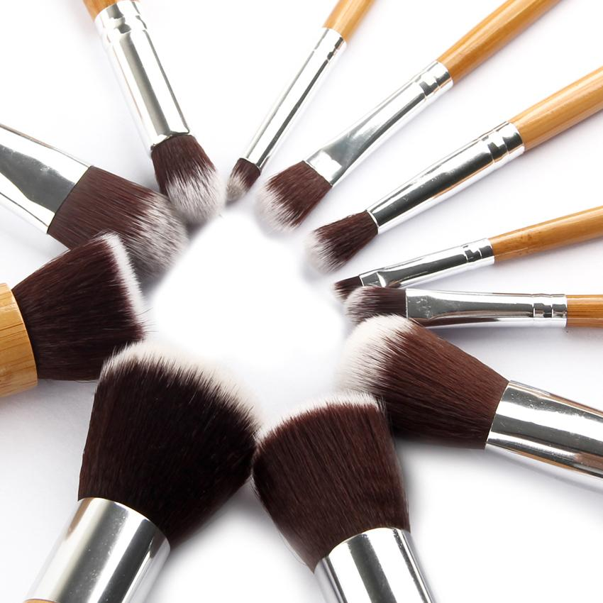 Vienna Linz Kuas Make Up Cosmetic Brush Professional 11 Set with Pouch Bulu Halus Berkualitas - Cream