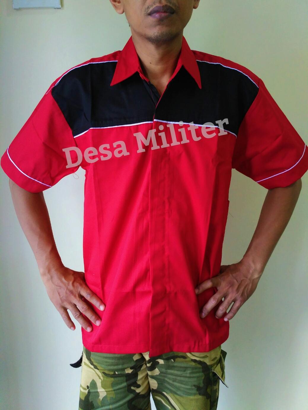 Seragam Kerja Crew - Kemeja Kombinasi  Merah - Seragam Kerja Bengkel - Seragam OB - Baju Office Boy