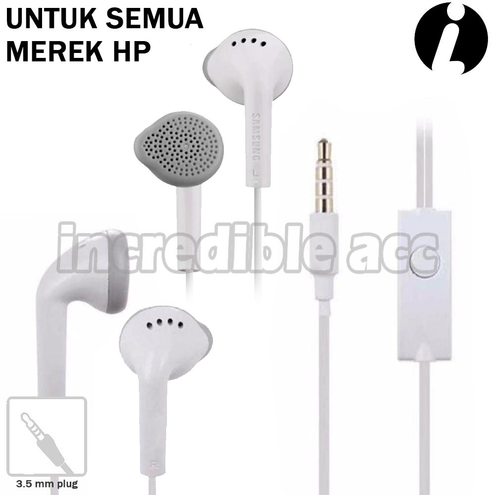 Headset Type Samsung Untuk Samsung/Xiaomi/OPPO/VIVO/Apple/Sony/Huawei/ASUS/ Dan Semua Merk HP Dengan Jack Audio 3.5mm Handsfree Bass Audio High Qualty - Putih