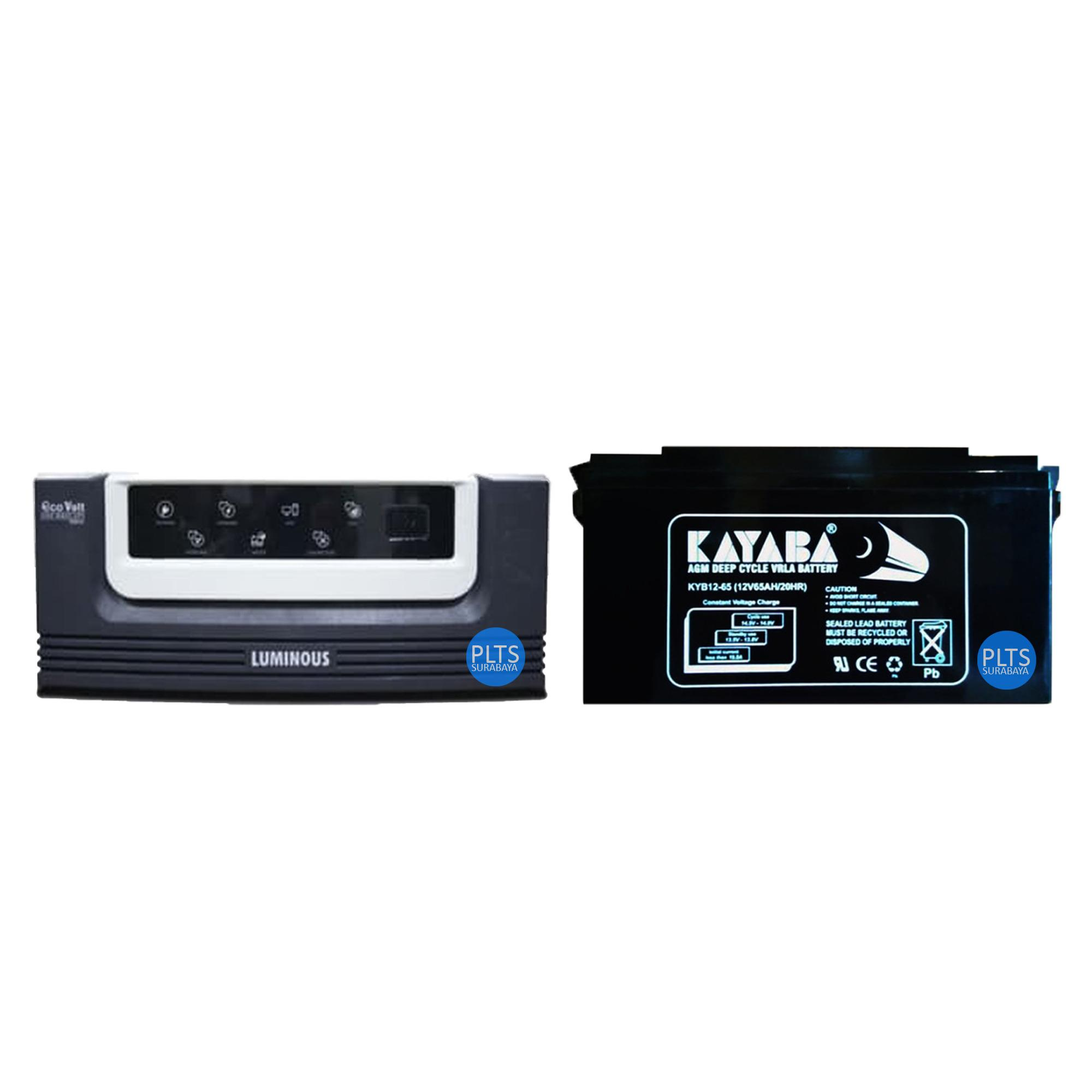 Paket Hemat Luminous ECOVOLT 900VA + Aki Kering VRLA Kayaba 12V 65Ah