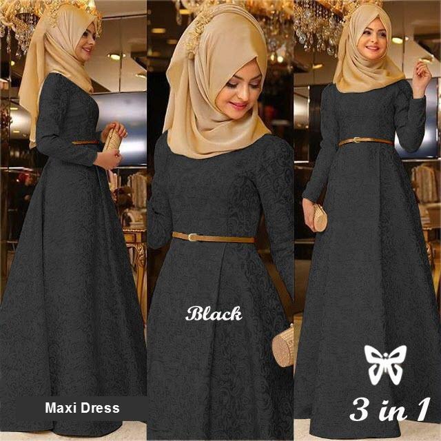 Flavia Store Maxi Dress Lengan Panjang Set 3 in 1 FS0497 - HITAM / Gamis Syari / Gaun Pesta Muslimah / Baju Muslim Wanita Syar'i / Hijab / Srzamirah