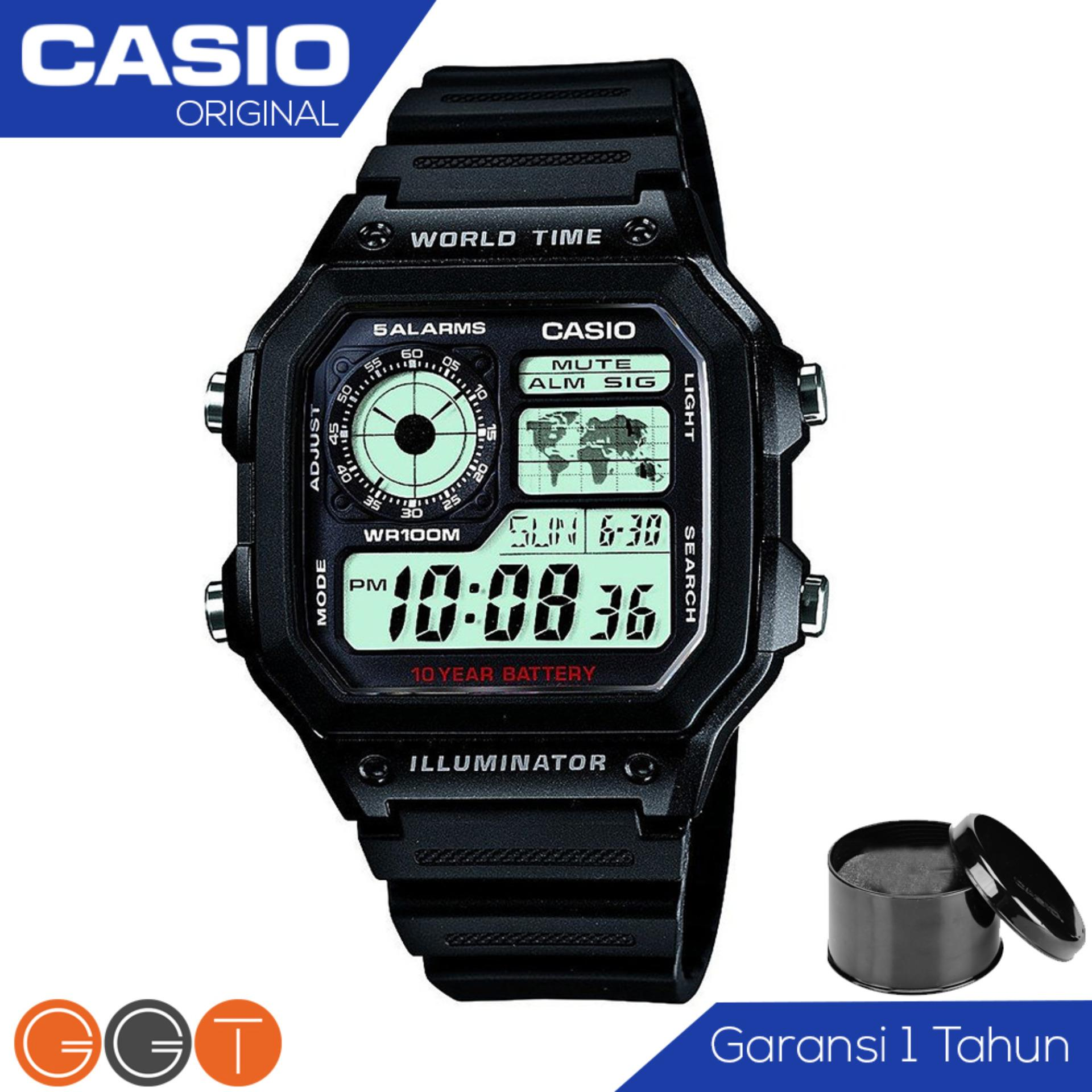 CASIO Illuminator Bond Style - Jam Tangan Pria - Tali Stainless (WHD) / Resin (WH)  - Digital Movement - Silver AE-1200