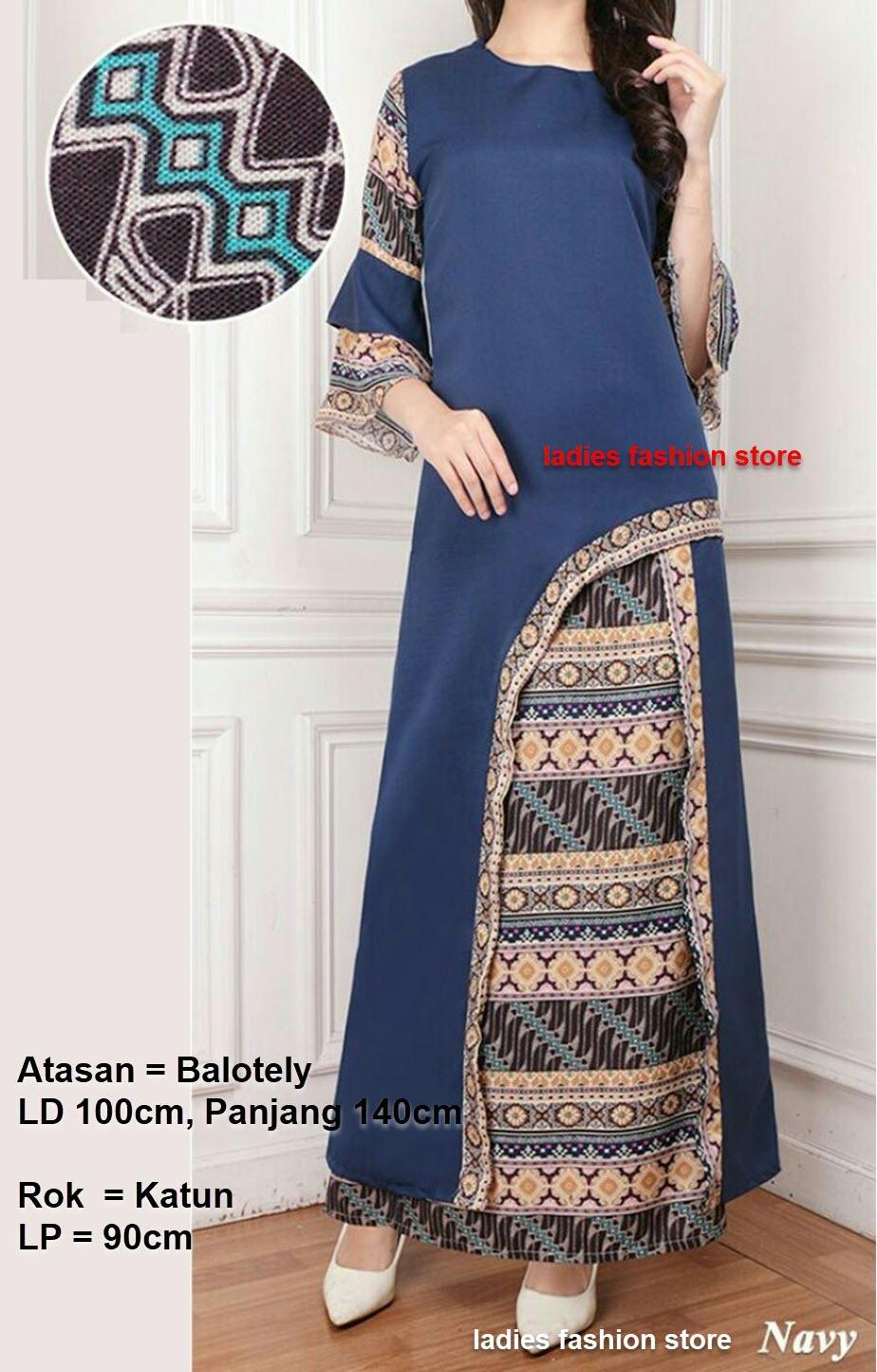 Setelan Gaun Batik Wanita Lengan Panjang / Baju Dress Gamis / Hijab Murah Berkualitas Gamis Model Baru Tahun 2018  / Set Muslim / Batik Murah / Batik Muslimah / Setelan Batik Wanita / Batik Panjang  / Stelan Baju Dan Rok Muslim Muslimah AK (renamo) – NAVY