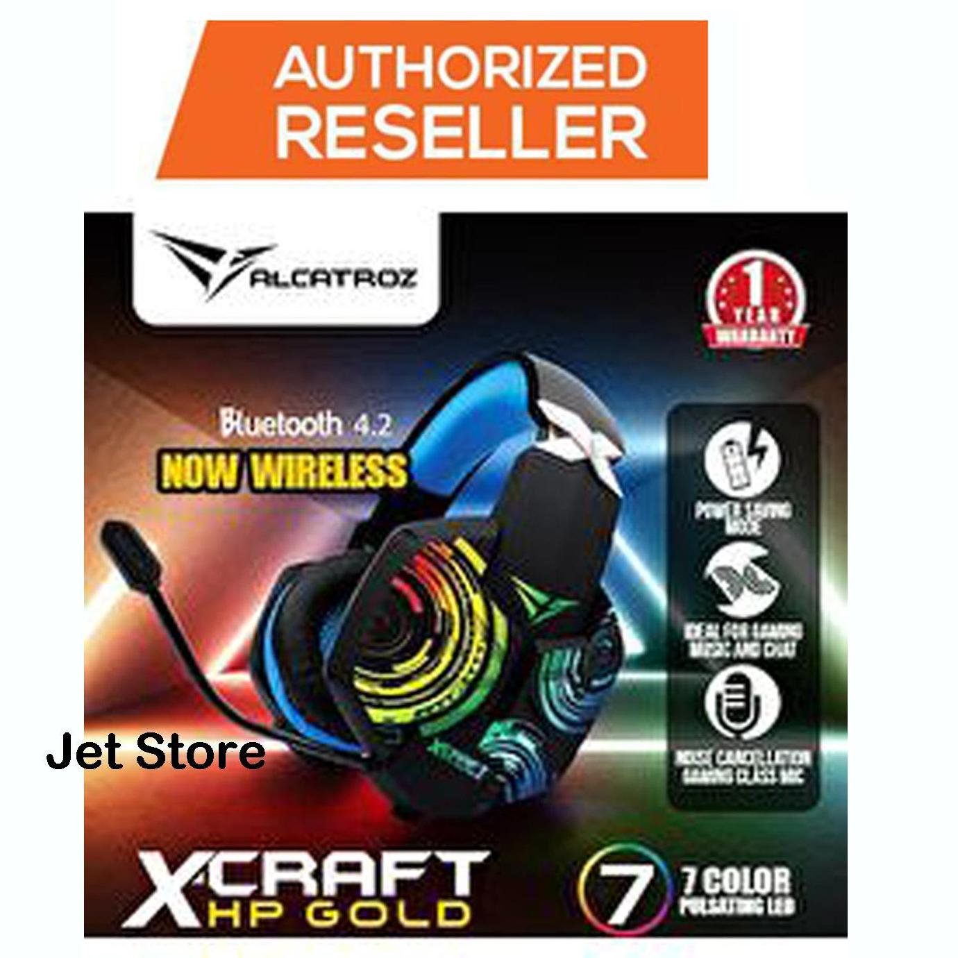 Alcatroz X-Craft HP Gold Bluetooth 4.2 Gaming Headset (Mobile/ PC) By Armaggeddon 7 lampu LED