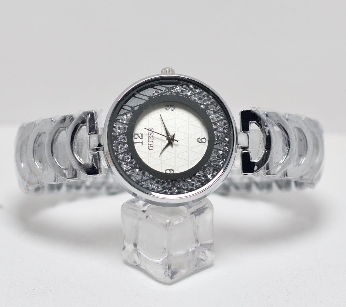 Jam Tangan Wanita Cewek Murah Guess Swarovski B126 Rantai Silver