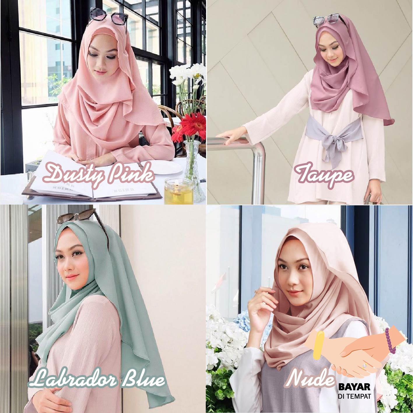 Cotton Bee Bella Hijab Kerudung Instan Pashmina instan Hijab langsung pakai Vanilla PROMO DISKON -