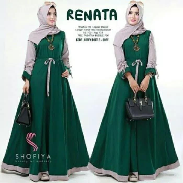 Grosir Baju murah / Gamis busui / Hijab model baru : New Renata Dress - Maroon