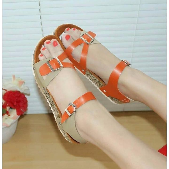 Sandal / Sendal Santai Model Carvil Orange Cream