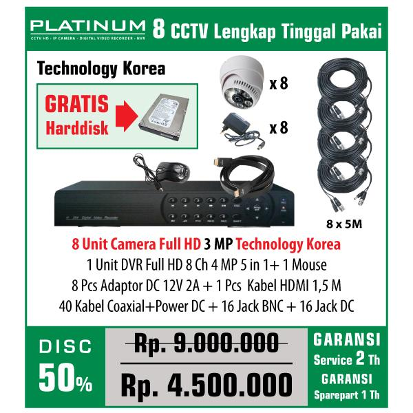 PAKET CCTV PLATINUM 8 CAMERA Full HD 3 MP TECHNOLOGY KOREA