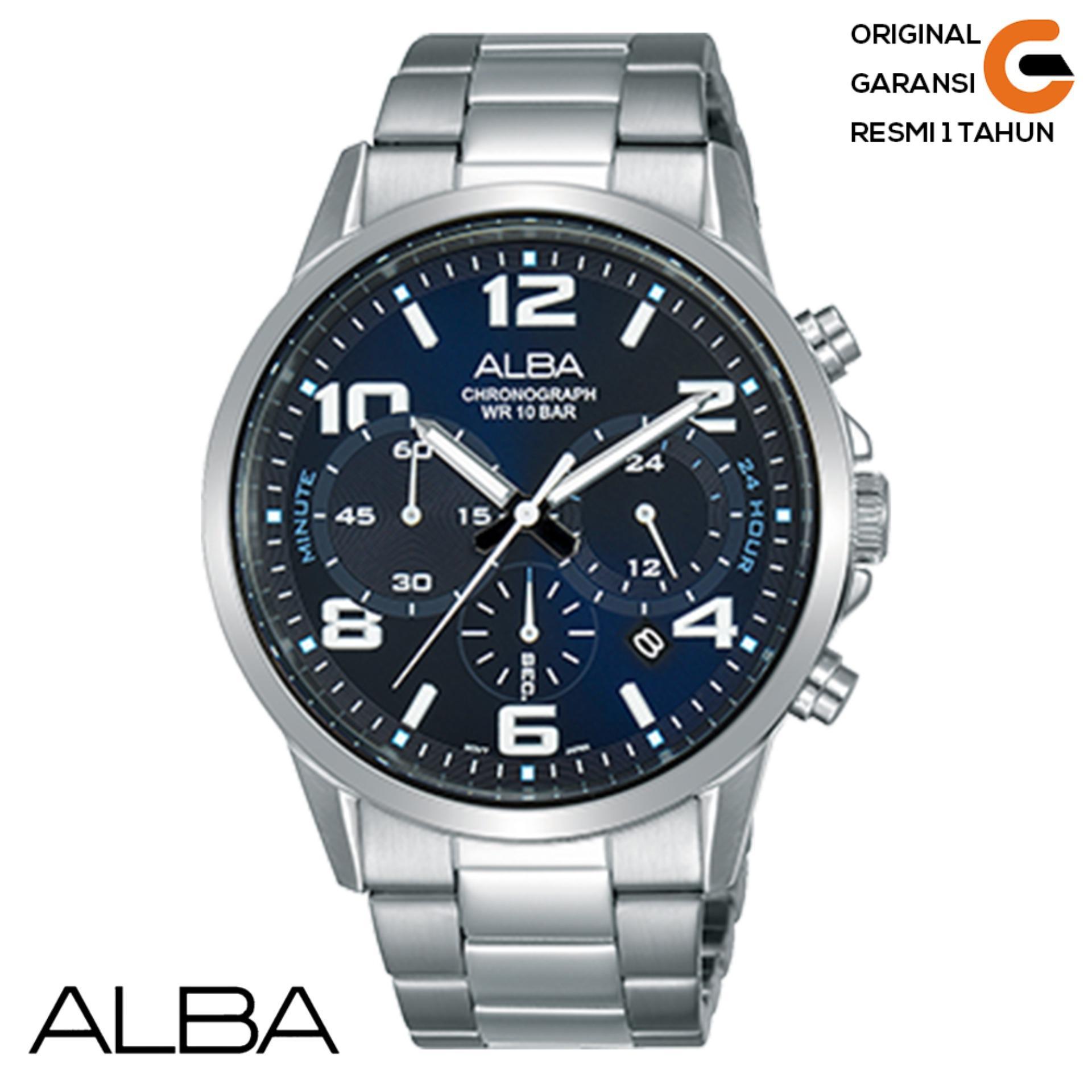 Alba Jam Tangan Pria ALBA AT3D73X1 Chronograph tali Rantai Logam Stainless Steel Jam Tangan ALBA Pr
