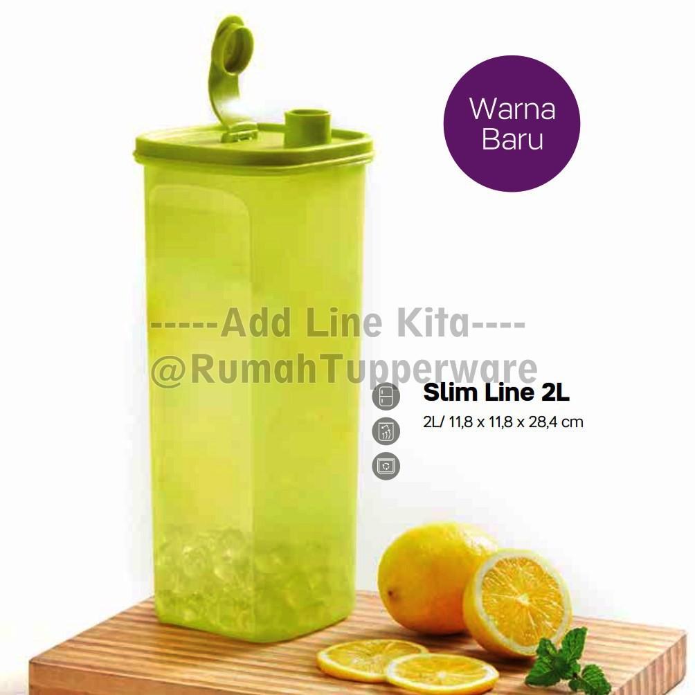 Tupperware Slim Line 2L - Hijau (PROMO) tempat air minum