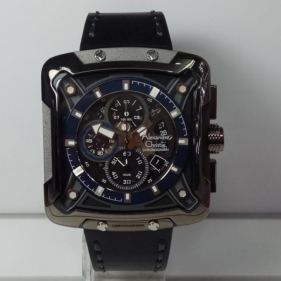 Alexandre Christie Jam Tangan Pria Hitam Strap Stainless Steel 8205 6447 Silver Ac3030mc Chronograph Black List Blue Leather