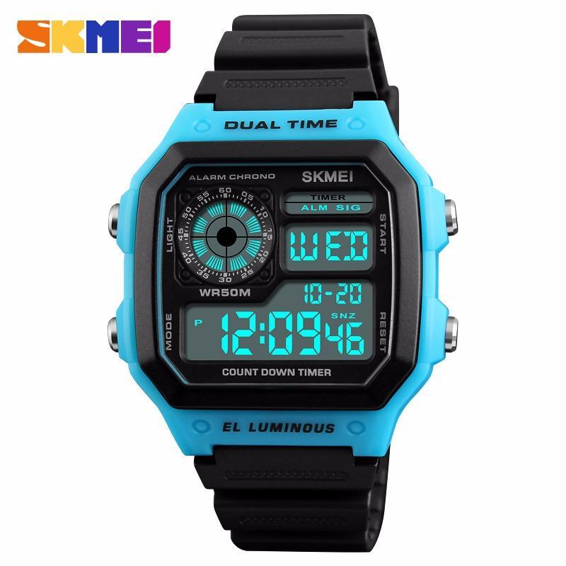 SKMEI Baru Men Sports Watches Hitung mundur Watch Waterproof Rubber Fashion Jam Tangan Digital Jam Pria 1299 - intl