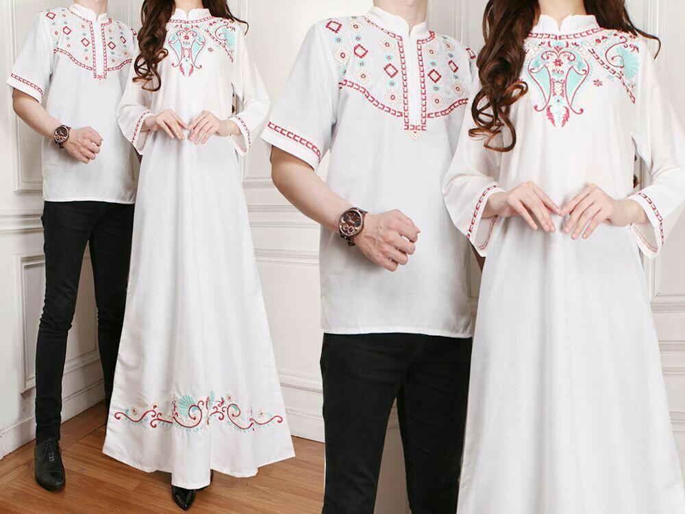 UC Batik Couple / Kemeja Muslim / Gaun Dress Maxi Muslim / Gamis Syari Syar'i pasangan SS (AkinahSH) - Putih