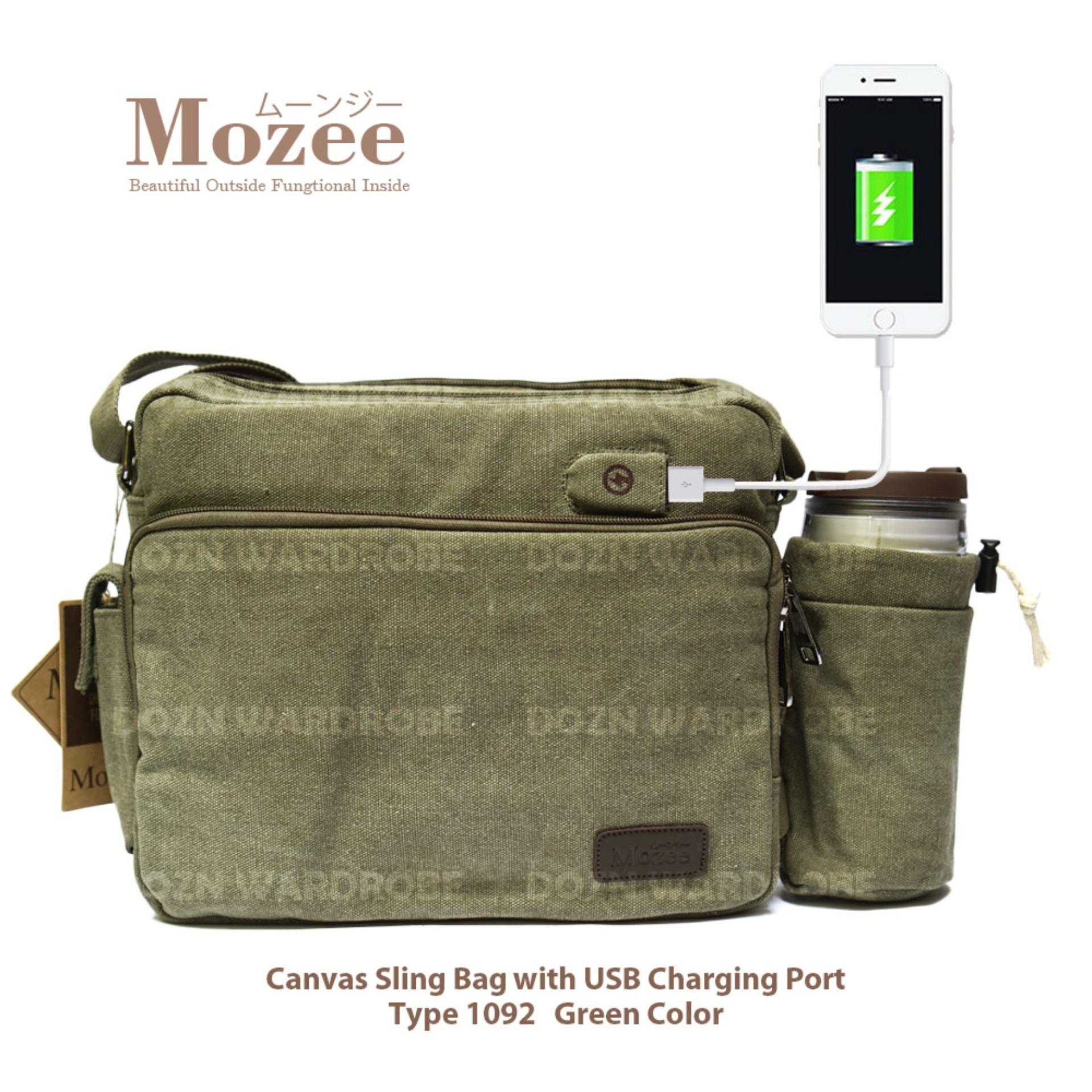DOZN Tas Pria Men Vintage Canvas Multifunction Travel Satchel Messenger Sling Bag With USB Charge P