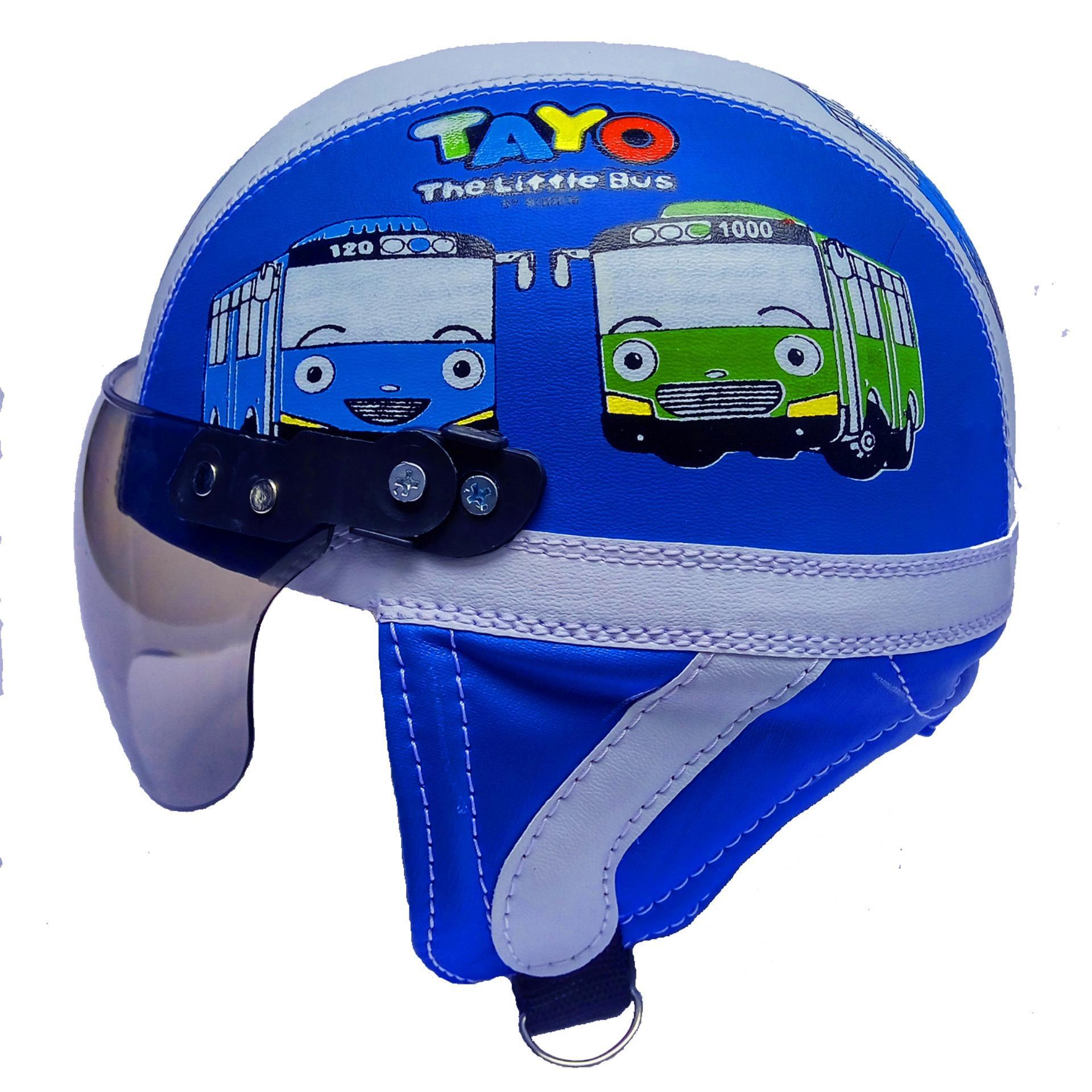Helm Berkendara Motor Helem Sepeda Anak Broco Retro Kaca Riben Lucu Usia 1 Sampai 4 Tahun Motif Tayo Biru
