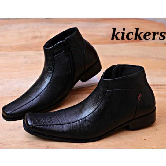 Kickers - Sepatu Pantofel Pria Kickers Asli Kulit Sapi PDL Formal Warna  Hitam Ritsleting dc137855c5