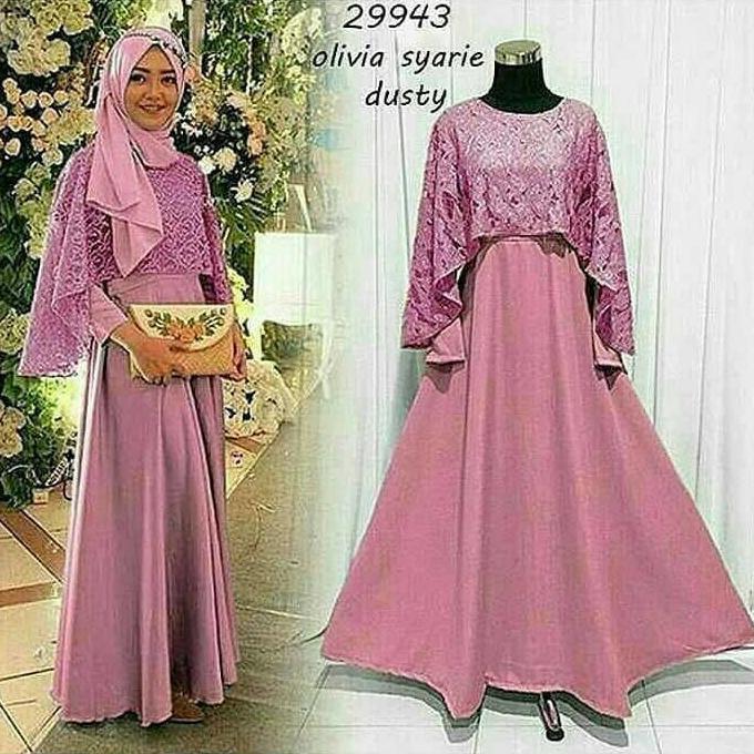 Flash Sale Baju Atasan Muslim Gamis Murah Olivia Syar'I Dusty   Baju Lebaran Muslim Wanita Anak Pria
