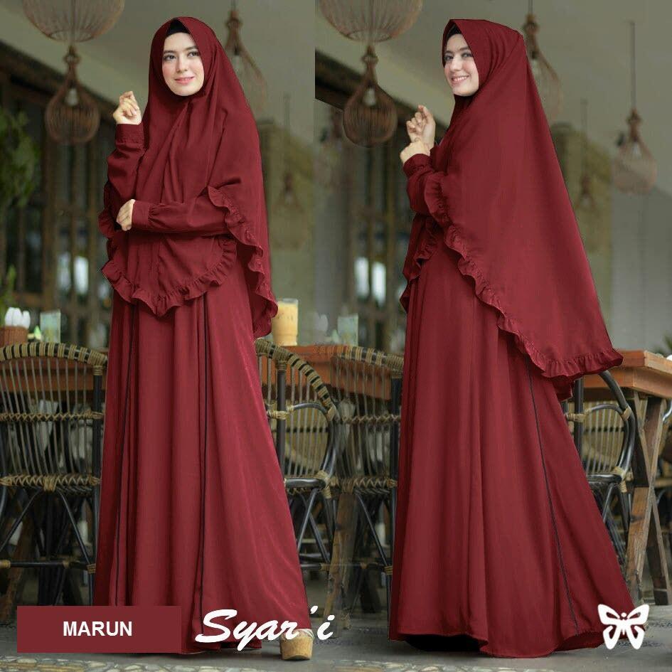 Flavia Store Gamis Syari Set 2 in 1 Lis FS0561 - MERAH MARUN / Baju Muslim Wanita Syar'i / Gaun Muslimah / Maxi Dress Lengan Panjang / Hijab / Srhafizah