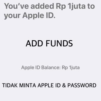 Harga kejutan iTunes Gift Card IGC Deposit Rp 1.000.000 Indonesia Metode Add Funds -
