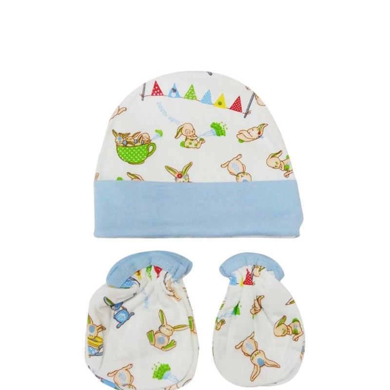 MOMO Baby Topi Set Plus Sarung Tangan Kaki Mamimu Motif Kelinci - Topi Set Bayi