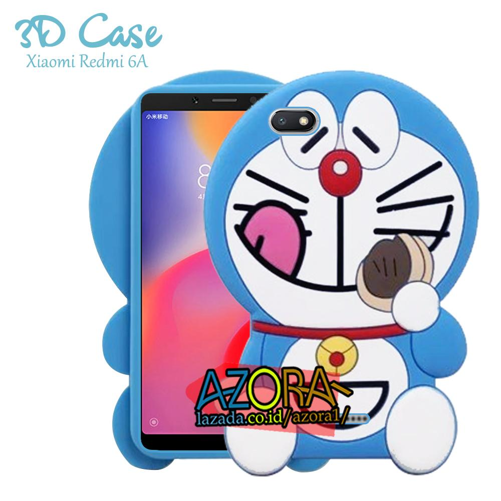 3D Case Xiaomi Redmi 6A Softcase 4D Karakter Boneka Hello Kitty Doraemon Lucu Character Cartoon Dorayaki