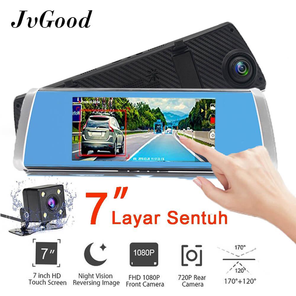Jvgood 7 Inci Layar Sentuh Mobil Kamera Dua Lensa Mobil Kamera Kaca Spion Kamera Camcorder Mobil DVR FHD 1080 P Dash Kamera Perekam Video