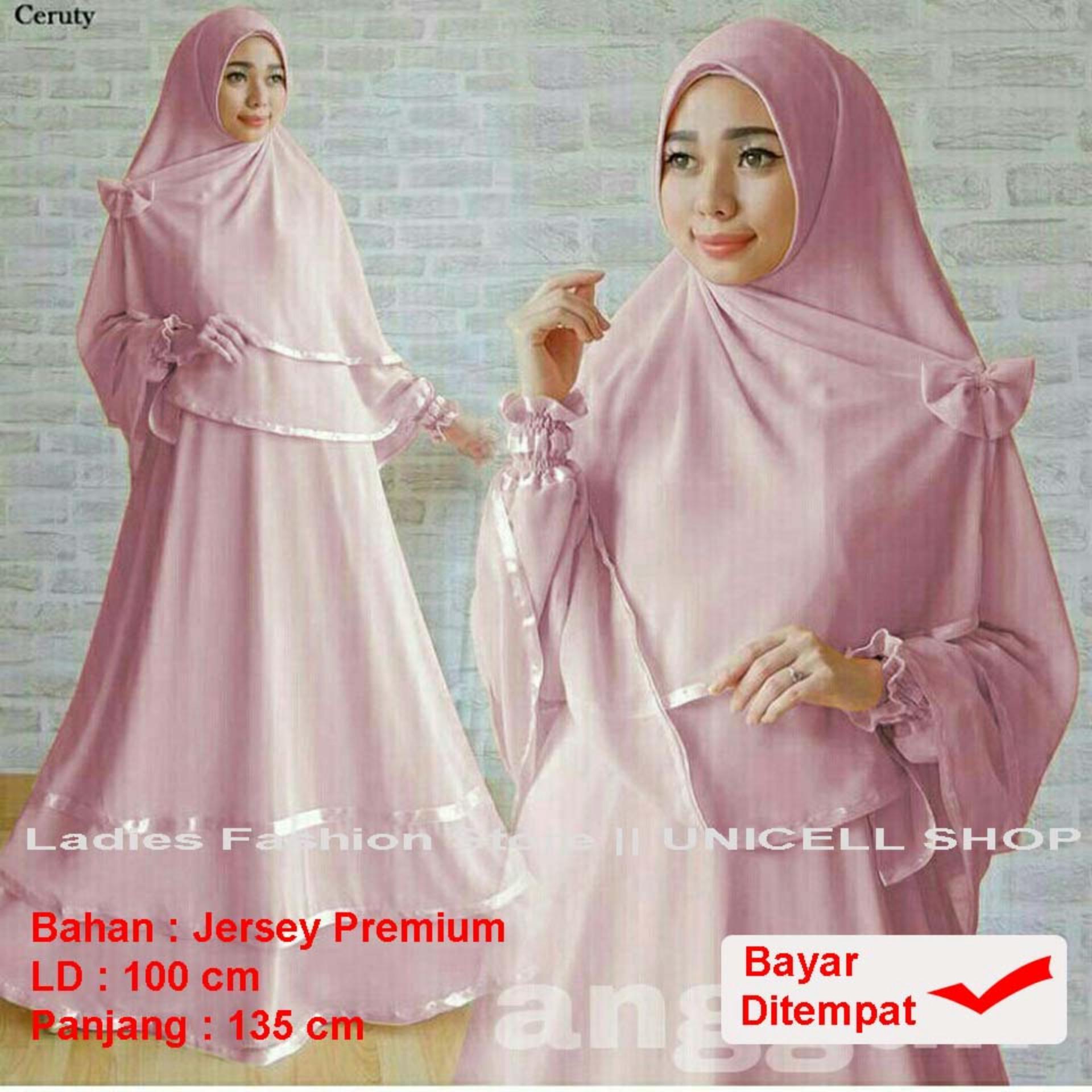 UC Baju Gamis Muslimah syari Fitri Busui / Set Terusan Maxi / Syari Simple Elegant / Baju Muslim Wanita / Kebaya Modern (ggunan) 1N - Pink Dusty /Hijab Muslimah / Baju Muslimah Wanita / Syari Syari'i Muslim / Gaun Muslim / Long Dress Muslimah Wanita