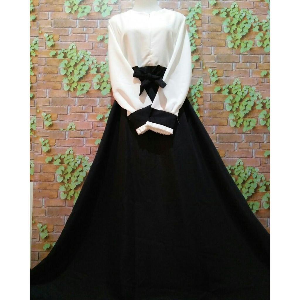 Gamis kerja hitam putih baloteli kombinasi dress kerja baju pns jokowi cv kemeja rok kerja syari (S