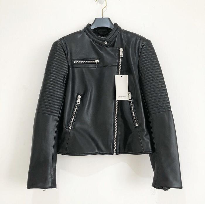 Jaket Kulit Wanita Zara Woman Faux Leather Biker