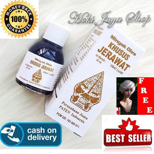 HOKI COD - obat jerawat - Minyak Oles Wayang Khusus Jerawat - 35 ml + Gratis Shower Cap Putih - Premium