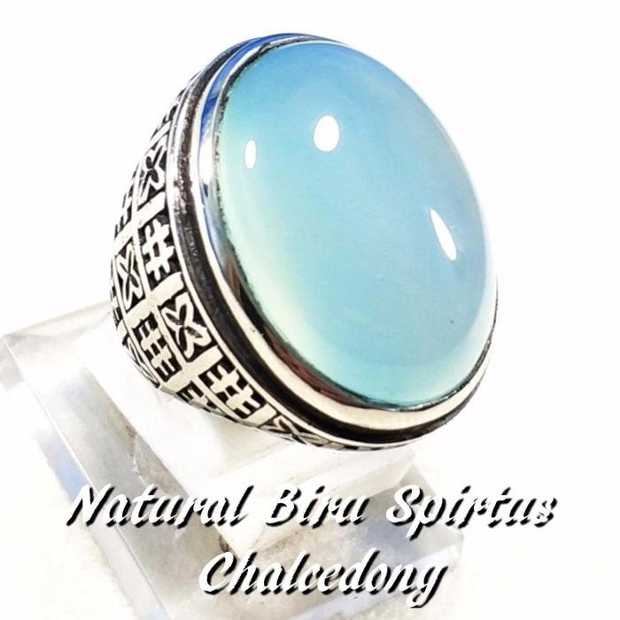 Promo Big Sale Perhiasan Aksesoris As Cincin Batu Akik Natural Biru Spirtus Chalcedony Big Size Mumbul B By Natural Gemshop.