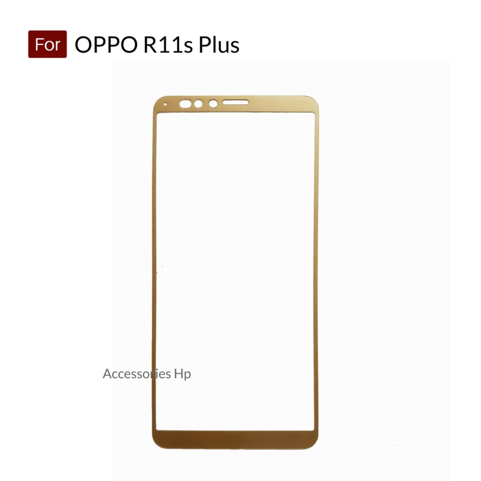 Accessories Hp Full Cover Tempered Glass Warna Screen Protector for OPPO R11s Plus - Gold