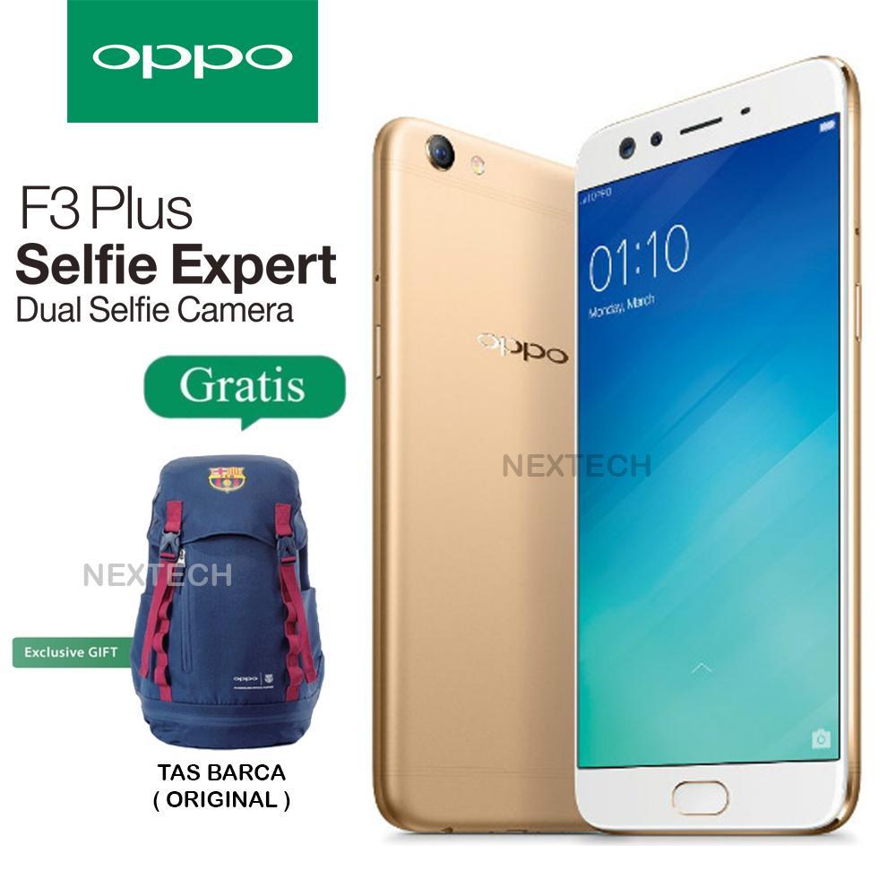 Oppo F3 Plus - Dual Selfie Camera - Ram 4GB - Rom 64GB - Free Tas Barca Original - Gold
