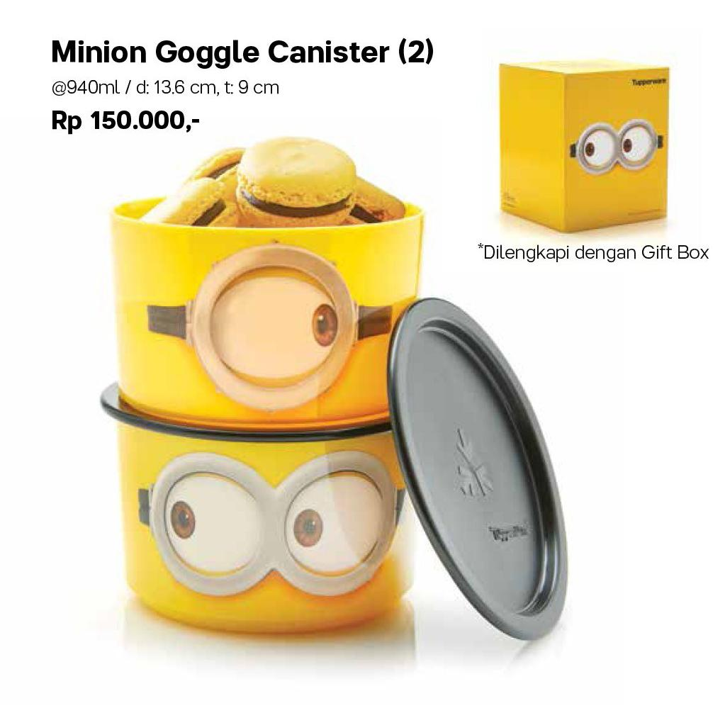 Tupperware Minion Google Canister set dapat 2pcs