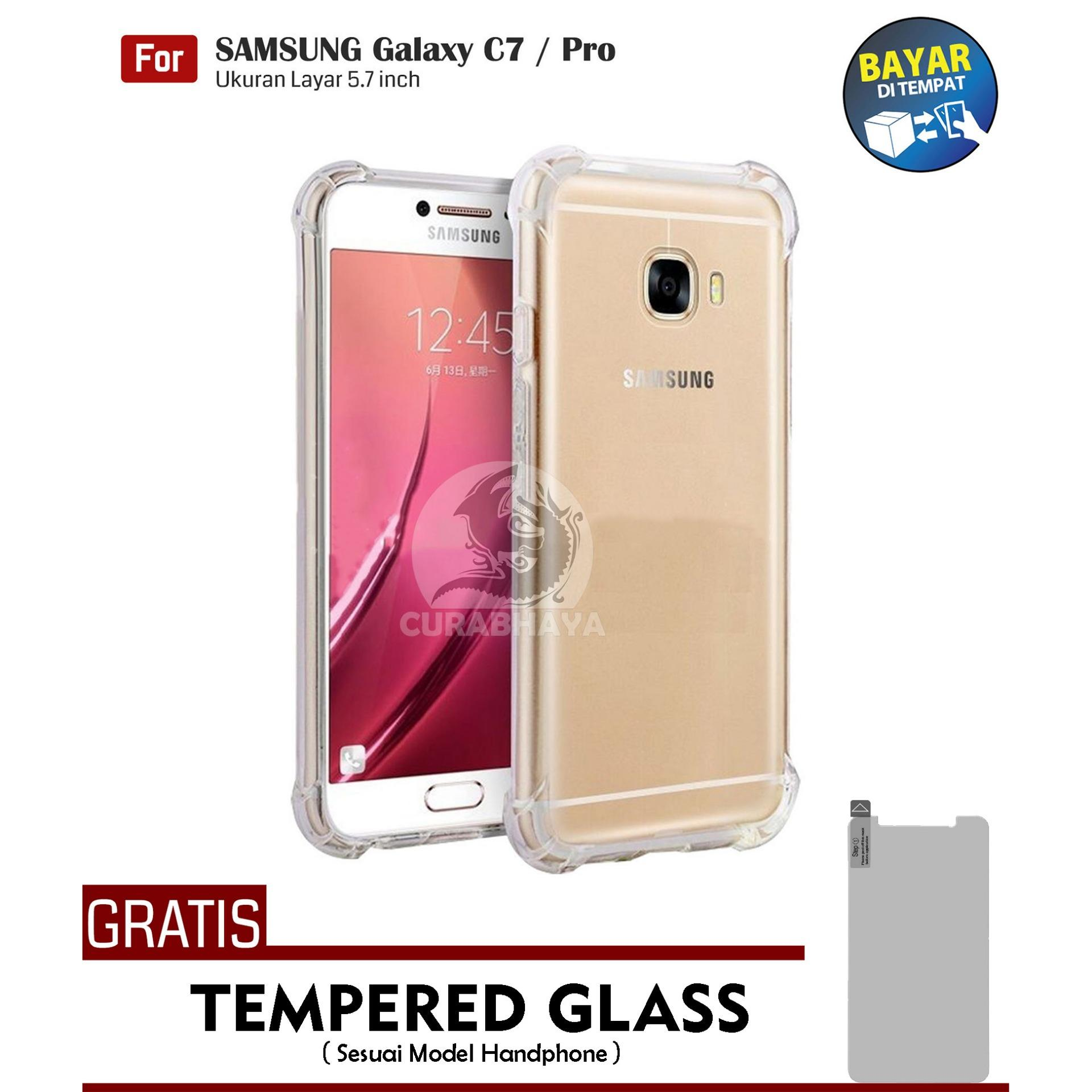 AirShock Samsung Galaxy C7 / C7 Pro / Duos | Anti Crack Premium Softcase Cushion ShockProof + Gratis Free Tempered Glass Screen Protector
