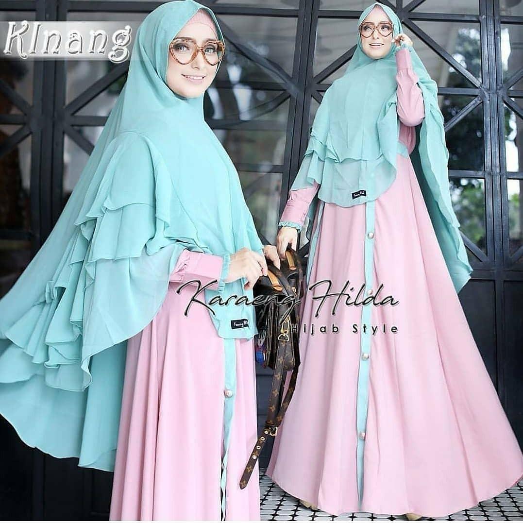 Baju Muslim Original Gamis Kinang Syari Dress Wolfice Baju Panjang Muslim Dress+Khimar Casual Wanita Pakaian Hijab Modern Modis Trendy Terbaru 2018