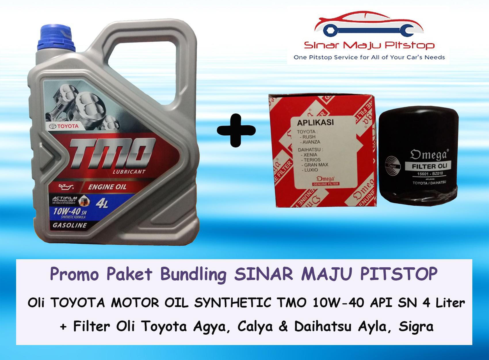 PROMO Paket Bundling Oli Mobil TMO TOYOTA MOTOR OIL 10W-40 API SN 4 LITER & Filter Oli Mobil DAIHATSU SIGRA AYLA & TOYOTA CALYA AGYA
