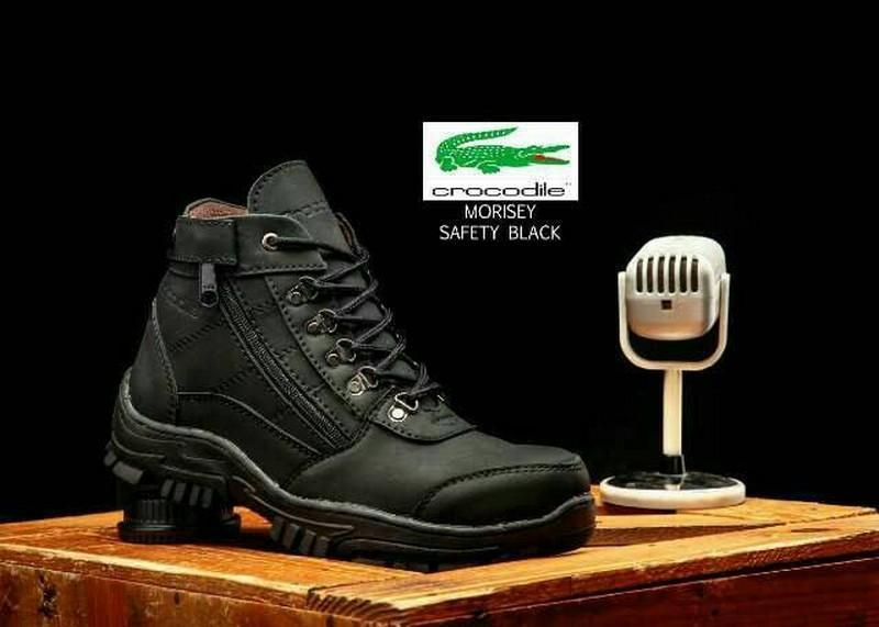 Sepatu Boots safety shoes ujung besi Casual Pria Kulit Handmade Model Single Zipper BKS07 GAHHAR Sepatu Safety Kulit Gahhar Elastis - Hitam / Sepatu Safety Pria / Sepatu Pria Murah / Sepatu Pria Kulit Slip On  Pdl Kulit Jeruk  Pdl Security Pdl Pria
